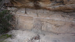 sandstone carvings & shale layer (spelio) Tags: mt victoria nsw blue mountains australia winter bushwalk hike