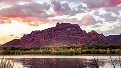 Red Mountain Pink Clouds (playful_i) Tags: blue clouds green mountains nature pink red reflection river salt sunset weather wilderness