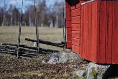 Sweden, early spring (Stefano Rugolo) Tags: stefanorugolo pentax k5 pentaxk5 smcpentaxm100mmf28 ricohimaging red bokeh countryside fence depthoffield building spring april stones rocks trees hälsingland sweden sverige textures wood light colors