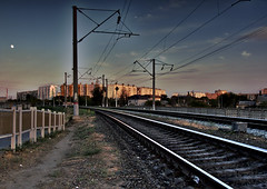 Evening City Through the Railroad (DementyD) Tags: railroad railway track rails evening city astrakhan рельсы вечер город астрахань