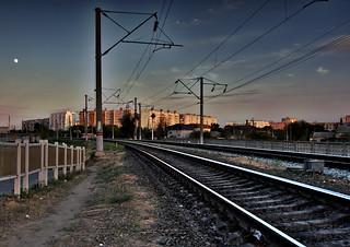 Evening City Through the Railroad