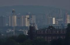 urban scene (Paul Burnham) Tags: cctv camera crane cranes objects clutter