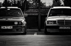 Old friends (mateusz.jedrak1) Tags: mercedes w190 bmw e30 wroclaw car