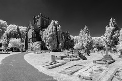 Christ Church (James Etchells) Tags: frome somerset unfrared ir photography urban town church surreal landscape landscapes graveyard grave yard light dark black white monochrome christ tree trees nature natural world past sky stones historic