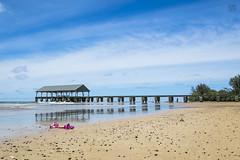 Hanalei Pier (lycheng99) Tags: hanalei hanaleipier pier kauai hawaii beach sand ocean sky bluesky reflections clouds nature landscape