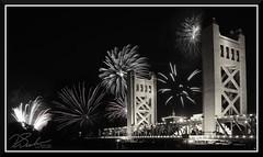 Fireworks_0722 (bjarne.winkler) Tags: pre 4th july independence day river cats fireworks over tower bridge sacramento black white
