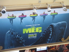 The Meg - megalodon monster shark poster 4933 (Brechtbug) Tags: the meg 2018 film based 1997 science fiction book a novel deep terror by steve alten giant shark movie that has bounced around studios for two decades megalodon monster theater lobby standee amc loews 34th street 14 theatre jaws like summer august holiday ocean creature spooky sea monsters nyc new york city midtown west side