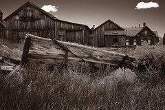 The Picnic Table (CameraOne) Tags: picnictable bodie ghosttown sepia monochrome blackandwhite raw cameraone relics old abandoned urbandecay wood wideangle polarizer owensvalley california canon6d canonef1740mm wagon ruins statepark