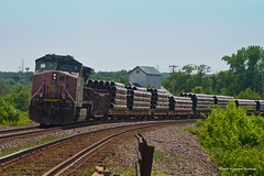 Pipe Train at Valley Park (tim_1522) Tags: railroad railfanning rail missouri mo unionpacific up jeffersoncity sub subdivision sp southernpacific pipes generalelectric c449w