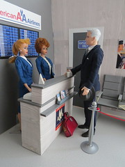 5 Catching an early flight (Foxy Belle) Tags: doll dollhouse miniature diorama airport work barbie uniform vintage gray american airlines business madmen roger sterling silkstone playscale ooak 16 scale 1960s