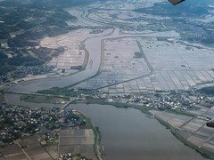 Japanese Rice paddies with Tone River on approach to Narita International Airport (NRT) Tokyo Japan (mbell1975) Tags: japanese rice paddies with tone river approach narita international airport nrt tokyo japan jp asia aerial view water