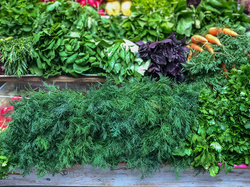 Fresh vegetables and herbs at Danilovsky Market in Moscow