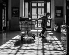 Safe To Mail (John St John Photography) Tags: streetphotography candidphotography jamesafarleypostofficebuilding eighthavenue newyorkcity newyork postal worker cart backlight shadows silhouette woman peopleofnewyork bw blackandwhite blackwhite blackwhitephotos patterns