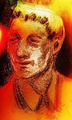 Vintage Embers (Lindsaywhimsy) Tags: vintage man portrait ink orange yellow glow experimental