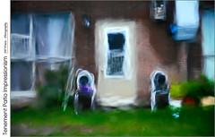 Tenement Patio Impressionism (jwvraets) Tags: hamilton tenement patio rainstorm rain water distortion windshield impressionism impressionist chairs opensource rawtherapee gimp nikon d7100 nikkor18105mmvr
