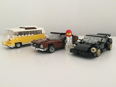 brick build models in 1/43 scale (ron_dayes) Tags: lego cars minifigure scale porsche vw t1 t 1 ford mustang camaro muscle car super supercar supercars transporter detail high