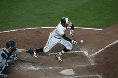 Adam Jones (Keith Allison) Tags: mlb baseball orioleparkatcamdenyards adamjones baltimoreorioles bunt