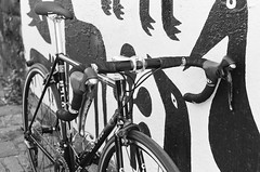 000135860004 (Harry Toumbos Photo) Tags: 35mm film ilford hp5 canon f1 50mmf12l melbourne laneway street art cycling bike road classic retro vintage steel columbus tsx campagnolo shimano dura ace ultegra