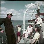 The Canadian Pacific Railway cruise ship Assiniboia leaves Port McNicoll on Georgian Bay for Port Arthur... / Le navire de croisière Assiniboia du Canadien Pacifique quitte Port McNicoll, dans la baie Georgienne, pour Port Arthur... thumbnail