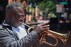 Flugelhorn In The Township (Ian Sane) Tags: ian sane images flugelhorninthetownship man flugelhorn street musician director park downtown portland oregon candid photography bokeh wednesday canon eos 5ds r camera ef50mm f14 usm lens