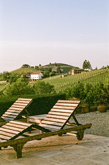 facing up to the golden hour... (bmxhag) Tags: filmdev fujisuperia400 italy may2018 olympusom2n goldenhour sunlounger colour countryside hilltop fujifilm 35mm film analog olympus scan terrace barolo piedmont piemonte parafada