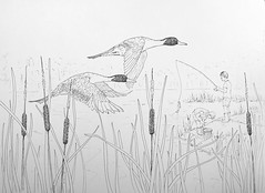Fishin' (Alex Hiam) Tags: fishing boys ducks pond lake rushes cattails pintail pintails birds nature fish boots bucket worms drawing illustration sketch pen ink summer