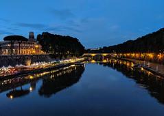 Blue Hour on the Tiber (maberto) Tags: europe italy night pixel2 rome tiberriver bridge reflection river riverwalk ©bradmaberto bluehour water cityscape