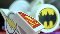 Super Eraser for young heroes (Christian Chene Tahiti) Tags: canon 6d auckland nouvellezélande macro macromondays eraser hmm gomme logo emblème dessin héro heroes bokeh closeup superman batman eclair flashgordon newzealand
