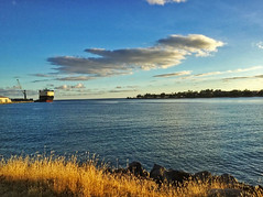 Sunset: Honolulu Harbor (jcc55883) Tags: sunset sky clouds ocean ship freighter light goldenhour honolulu hawaii oahu harbor honoluluharbor luckywelivehawaii honolululife shadow pacificocean