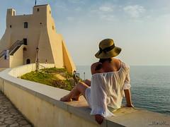 Sweet sunset (_MarcoM_) Tags: torre truglia tower sperlonga sunset tramonto mare sea italy italia white bianco blu sky cielo people persone woman donna sweet dolce