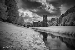 """Light & Dark (""""A.S.A."""") Tags: fountainsabbey studleyroyal northyorkshire britain countryside abbey cloud infrared830nm reflection architecture sonya7rinfrared830nm sonyzeissvariotessarfe1635mmf4 blackwhite mono monochrome greyscale niksoftware silverefex asa2018"""