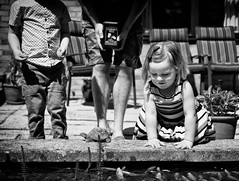 Pond Life (miniwaites) Tags: nex nik composition child monochrome candid goldfish fish water mono sony a6000 blackandwhite pond bw colchester england unitedkingdom gb