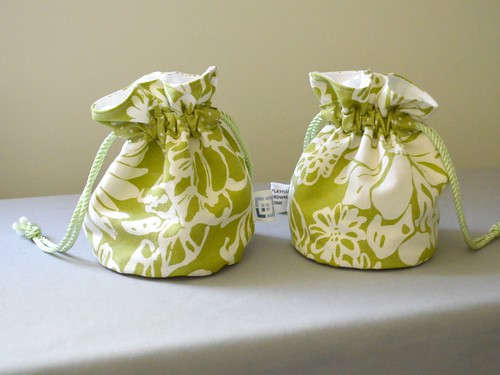 Green and White Canvas Pouches Done