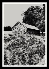 Barn (Develew) Tags: longshaw derbyshire england barn gritstone blackwhite abstract overexposed highlights burntout peakdistrictnationalpark peakdistrict nationaltrust nationalpark moors longshawestate sheffieldmoors artistic