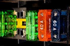 60A 40A 30A @ 12 VDC (donjuanmon) Tags: donjuanmon nikon macro macromondays hmm transportation fuses blue orange green yellow 60a 40a 30a colors oldschool