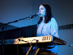 JUXT @ Dupont Underground (dckellyphoto) Tags: dupontunderground dupont band music dc perform punk washingtondc districtofcolumbia 2018 canonef50mmf18stm dupontcircle woman female keyboard juxt blueazul bluestblue eoshe