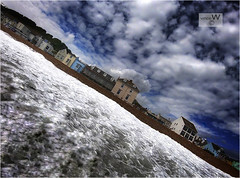 Shore art... (ziggystardust111) Tags: waves water sea buildings shore beach sky gopro colourful dynamic sandgatebeach
