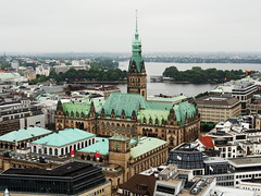 View from St. Nicholas' Church (aymc1427) Tags: hamburg germany europe travel olympus omd em5 city buildings architecture port canal