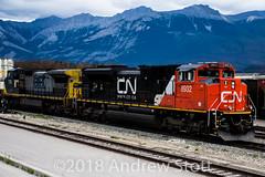 EMD on the point (awstott) Tags: emd 8932 jasper c408w canadiannationalrailway generalelectric cnr nationalpark train sd70m2 7312 locomotive electromotivedivision alberta cn ge canada ca