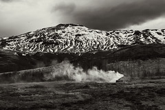 Geothermal Area 1 (pni) Tags: steam monochrome mountain fell tree view landscape sky cloud strokkur geysir goshver is18 iceland ísland pekkanikrus skrubu pni geyser