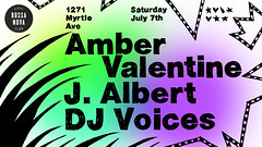 Amber Valentine, J. Albert & DJ Voices show flyer (leannaperry) Tags: leannaperry brooklyn newyork bossanovacivicclub techno house club music ambervalentine jalbert djvoices lettering type typography showflyer showposter illustration design graphicdesign drawing art