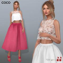COCO New Release @my store (cocoro Lemon) Tags: coco newrelease sleeveless croptop skirt secondlife fashion mesh maitreya slink belleza