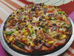 Onion Capsicum Pizza (with tomato paneer & corn stuff) 😋😋 #homemade #madebyme 🙋 #spicy 🌶#yummy 😋#pizza 🍕 #throwback . . . . #selfmade #chef #cook #cheflife #capsicum #onion #tomato #food #hungry #healthy #healthyf (carkguptaji) Tags: pizzalover paneer cheese spicy cheesy chef foodiegram homemade delicious selfmade healthy healthyfood cheflife sauce hungry capsicum madebyme tasty pizza onion cook dominos food throwback tomato foodie foodgram pinterest byme yummy
