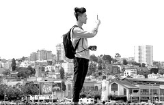 hill topper... (Stu Bo) Tags: sanfrancisco california fishermanswharf man sbimageworks look blackandwhite bw bnw vacation tourist hangingoutwiththefamily