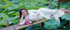 Beauty (khoitran1957) Tags: girl lotus pond lake woman aodai vietnam