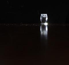 Owl, negative space (Bev-lyn) Tags: negativespace owl black light indoors crystal