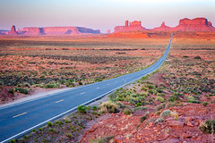 Morning Light At Monument Valley, Utah (thedot_ru) Tags: utah monumentvalley unitedstates usa us america road sunset sunrise morning evening grass highway freeway rock formation mountain sky noclouds vintagepoint leadinglines empty nopeople travel travelling travels trip tourism tourist adventure wanderlust explore discover canon5d 2014 landscape nature