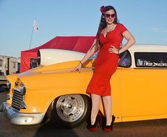 Holly_9261 (Fast an' Bulbous) Tags: trichevy chevrolet car vehicle automobile racecar drag fast speed power doorslammer girl woman chick babe hot sexy pinup model red wiggle dress high heels long brunette hair wife beauty