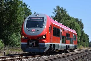 DB Triebwagen 632 105/605 bei Geisecke auf Probe- und Ausbildungsfahrt - DB railcar 632 105/605 at Geisecke on trial and training trip