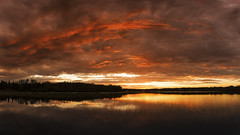 Lake Sunset (Terry L Richmond) Tags: alberta canon6d terryrichmond colorful pinelake sunset sky water dawn dusk nature cloud reflection outdoors sun sunrise evening lake landscape river clouds outdoor noperson redskyatmorning cloudy horizon redsky view afterglow body looking large weather atmosphere pond flora plane grass fairweather front plant mountain summer storm calm sitting beach morning airplane dramatic
